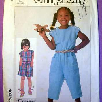 Child's Jumpsuit in Two Lengths Size 5, 6, 6x Simplicity 7350 Sewing Pattern Uncut