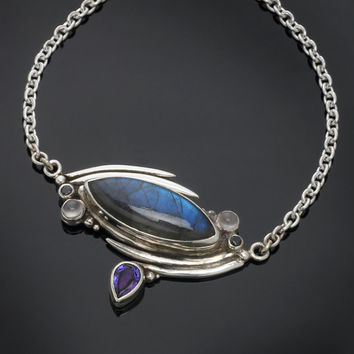 One of a Kind Sterling Silver Labradorite Pendant