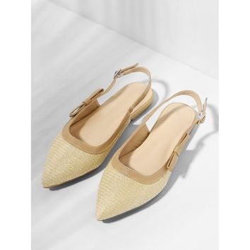 Apricot Pointed Toe Slingback Flats
