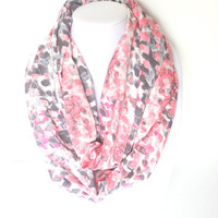 Pink Infinity scarf, Printed scarf, Spring scarf, Summer Infinity Scarf, Watercolor scarf, Pink Gray Scarf