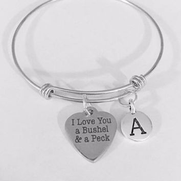 Initial Bangle Charm Bracelet I Love You A Bushel And A Peck Valentine Gift
