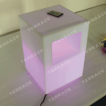 New Fashion acrylic lighting side table, Modern Lucite LED Nightstand, PMMA Sofa table with magazinerack