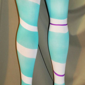 Vanellope style airbrushed adult tights for cosplay