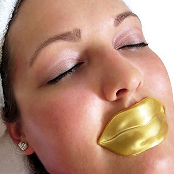 5 Masks 24K Gold Collagen Lip Treatment Mask Patches. Plumper Fuller Softer Lips. Anti Aging Reduce Fine Line Wrinkles Creases Hydrating Moisturizing Uplifting Tone Firmer Smooth Lips Regeneration. Treats Dry & Chapped Lips.