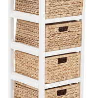 Office Star Seabrook Four-Tier Storage Unit With White Finish and Natural Baskets [SBK4514A-WH]