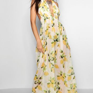 Fiona Lemon Print Maxi Beach Dress | Boohoo