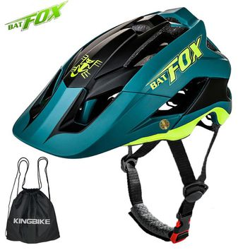 BATFOX Cycling Helmet Women Men Bicycle Helmet MTB Bike Mountain Road Cycling Safety Riding Helmet Storage Bag Ultralight Helmet