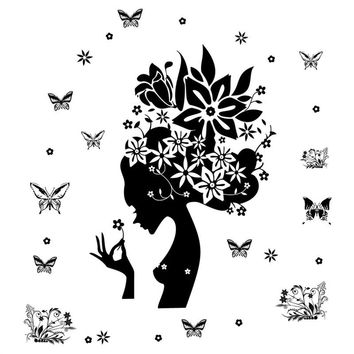 Girl Black Flowers Butterflies Removable Art Murals Wall Decals for Bedroom Living Room Decoration