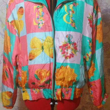 Vintage 90s River Edge Crazy Print Windbreaker