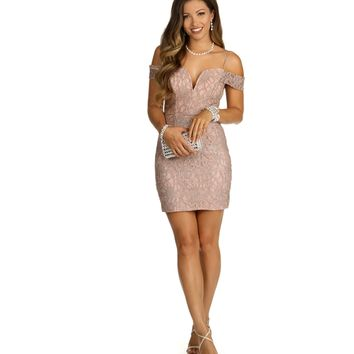 Taupe Shimmy Mini Dress