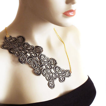 Lace Necklace, black lace, Statement Necklace,  Lace Fashion, women, Headband, statement necklace, gift ideas, jewelry, hair accessories