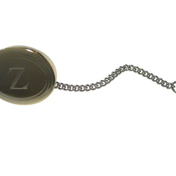 Gold Toned Etched Oval Letter Z Monogram Tie Tack