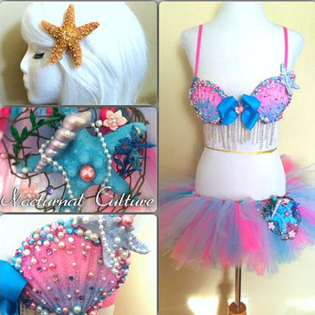 Mermaid Rave Outfit (Includes:  Mermaid Rave bra, tutu, starfish hair clip)