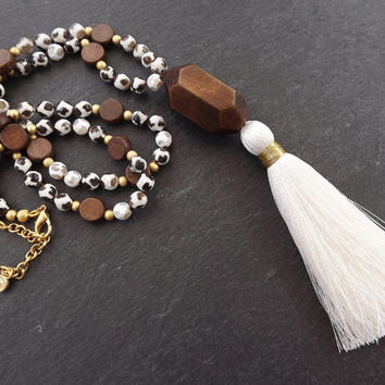 Long Beaded Tassel Necklace Gypsy Jewelry Hippie Bohemian Artisan -  Cream White Brown Agate Gemstone & Wooden Beads