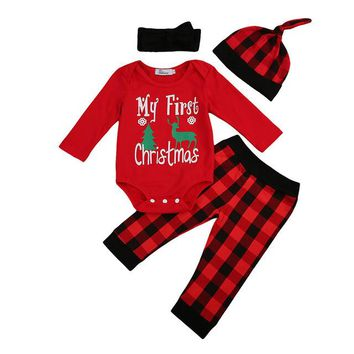 4PCS/My First Christmas Romper+Striped Pants+Headgear+Bonnet Outfit for Newborns
