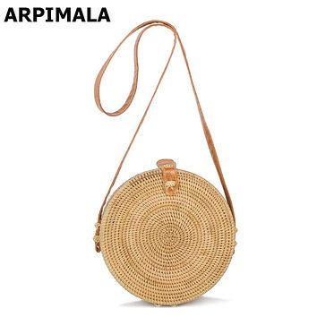 ARPIMALA 2017 Bohemian Straw Bags for Women Small Circle Beach Handbags Summer Vintage Rattan Bag Handmade Kintted Crossbody