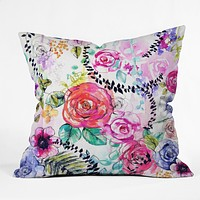 Holly Sharpe Rose Garden 01 Throw Pillow