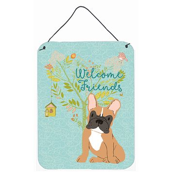 Welcome Friends Fawn French Bulldog Wall or Door Hanging Prints BB7633DS1216