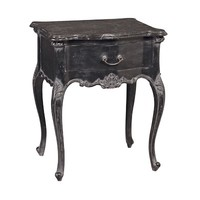 Moulin Noir Bedside with Marble | Black Painted French Bedside Cabinet | Elegant French Style Bedside Chest