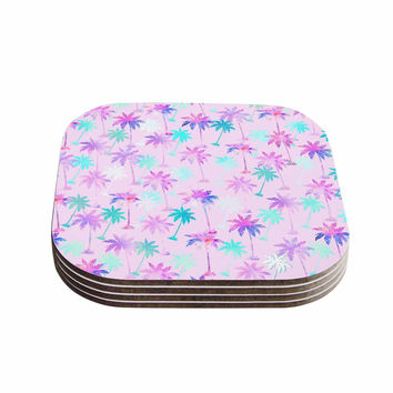 "Marta Olga Klara ""Palm Tree Pattern"" Pastel Digital Coasters (Set of 4)"