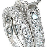 3.00 Ct Princess Antique Style Engagement Ring Wedding Set (5)
