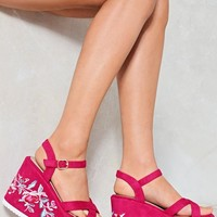 Break New Ground Floral Platform Sandal