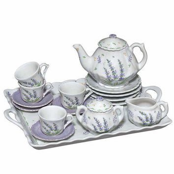 Child Size Lavender Children's 18pc Porcelain Tea Set - Perfect for Kids