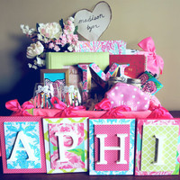 Alpha phi Letters,Sorority Letters,Lily Pulitzer Inspired Letters, Wooden Letters, Nursery Letters, Pink and Aqua Wall Letters, Wood Letters
