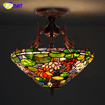 Tiffany Ceiling Lamp European Style Lotus Pond Stained Glass Tiffany Elegant Classic Lamp Living Room Hotel Restaurant Lamp