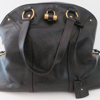 Womens YSL Yves Saint Laurent Oversized Leather Muse Bag Purse Dark Brown Used
