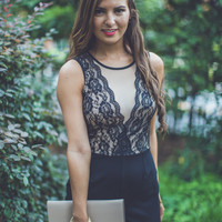 WEB EXCLUSIVE: Rose Lace Cocktail Romper in Black