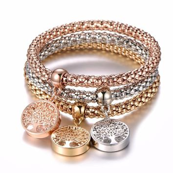 Three-Piece Charm Bracelets In Gold, Rose Gold And Silver Mix! Several Styles!