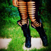 Womens Leggings - Black Shredded Leggings and Tights Cut Out Nicki Minaj Billboard Music awards