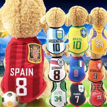 World Cup Dog Vest 6 Country Soccer Dog Shirt 4 NBA Jersey Basketball Uniforms
