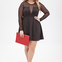 FOREVER 21 PLUS Mesh-Paneled Fit & Flare Dress