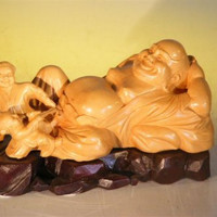 Wooden Buddha With Children Playing - Handcarved