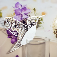 50pcs Birds Wine Glasses Place Name Number Cards Wedding Favor Party Supply Table Decor