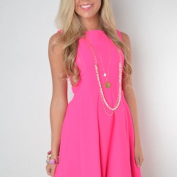 Bright Pink Fit and Flare Dress