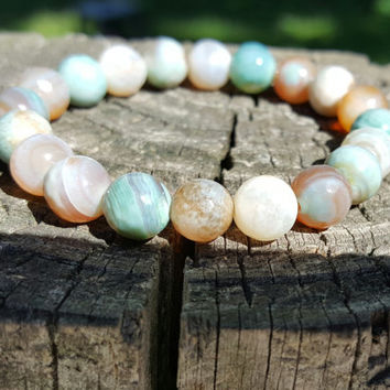 Faceted Agate Bracelet, Seafoam Green and Tan. Stretch Bracelet. Handmade Jewelry.
