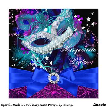 Sparkle Mask & Bow Masquerade Party Invitation Personalized Announcements from Zazzle.com