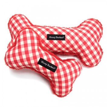 Gingham Bone Canvas Toy | Red