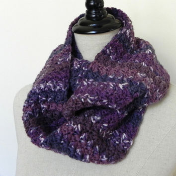 Plum jam hand crochet infinity scarf, shades of purple crocheted cowl scarf (483), ready to ship