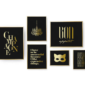 SET of 6 Prints, Party Prints Set, Champagne Print, Bedroom Decor, Real Gold Foil Print, Chandelier, Home Decor, Cat Mask, Typography Art