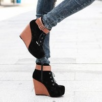 Freshing Black Splicing Girls Wedges Hot Sale : Wholesaleclothing4u.com