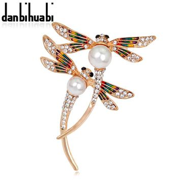 danbihuabi Butterfly  Brooch Pin badges for Clothes Rhinestone Pins and Brooches for Women Metal badges Clip for scarf