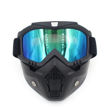 ac NOOW2 Motocross Goggles Glasses Face Dust Mask Detachable Motorcycle Oculos Gafas Mouth Filter For Open Face Vintage Helmets Universal