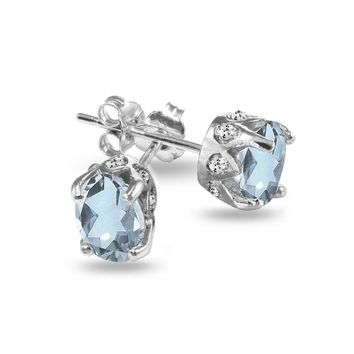 Oval Crown Blue Topaz and White Topaz Stud Earrings in Sterling Silver