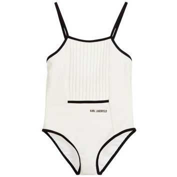 Karl Lagerfeld Girls White Pleated Swimsuit