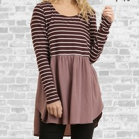Striped Babydoll Tunic - Mulberry