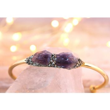 Raw Amethyst February Birthstone Gemstone Bracelet